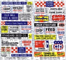 157 HO Feed and Seed Store Signs, Schilder