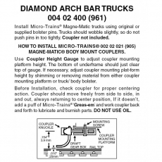 Nn3 004 02 400 ( 961) Diamond Arch Bar Trucks Brown 1pr