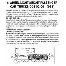 Z 004 02 091 ( 963) 6-Wheel Lightweight Passenger Trucks w/coupler 1 pr