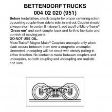 Z Scale, 004 20 020 (951) Bettendorf Trucks w/o coupler 1 pr