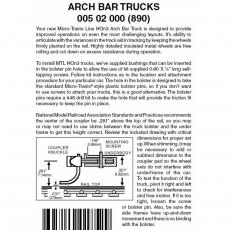 HOn3 005 02 000 ( 890 ) Arch Bar Trucks no coupler 1 pr