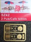 90042 Z Pub/ Cafe Tables, Tische mit Sonnenschirm,  Bausatz ,Messing