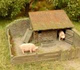 91519 Kleiner Schweinestall, Bausatz, TT