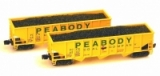 FT 5005 Set #2 Peabody- PCCX 6567 + 6592 OPEN RIBBED-SIDE, 70-TON, 3-BAY HOPPER