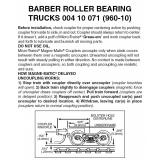 004 25 071 (960-10B) braun Barber Roller Bearing Trucks w/s
