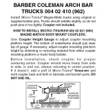 Nn3 004 02 410 (962) Barber Coleman Arch Bar Trucks 1 pr