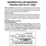 Z 004 02 071 (960) Barber Roller Bearing Trucks w/short ext. couplers 1 pr
