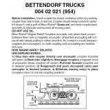 Z 004 02 021 ( 954) Bettendorf Trucks w/ short ext. coupler 1pr